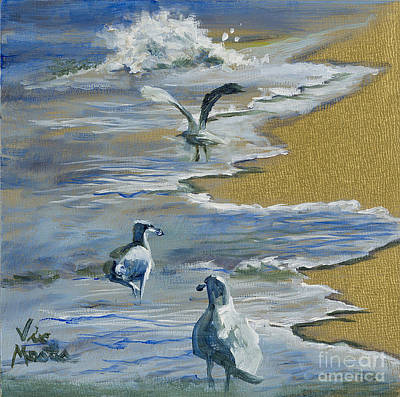 Sea Gulls With Gold Leaf By Vic Mastis Poster