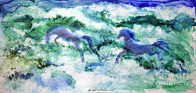 Poster featuring the painting Sea Horses by Joan Hartenstein