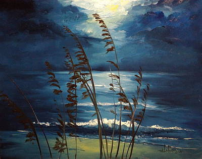 Sea Oats And Moonlight Poster