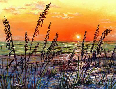 Sea Oats Sunset Poster by Lou Ann Bagnall