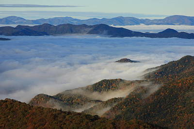 Sea Of Clouds In The Courthouse Valley-blue Ridge Parkway Poster