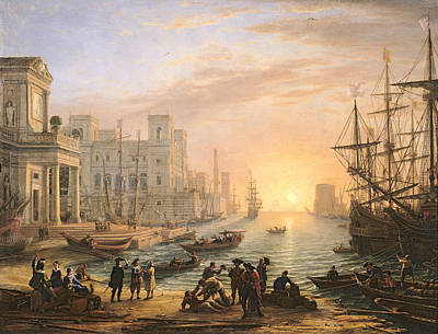 Sea Port At Sunset Poster by Claude Lorrain