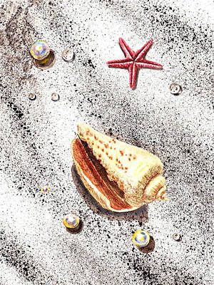 Sea Shells Pearls Water Drops And Seastar  Poster by Irina Sztukowski