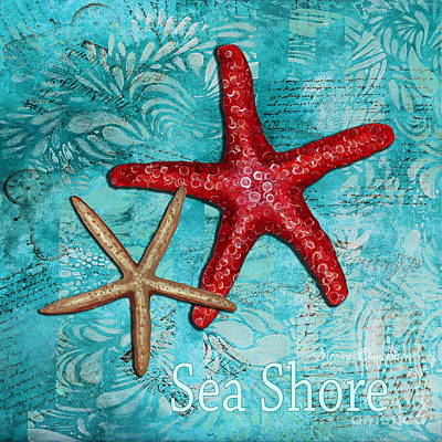 Sea Shore Original Coastal Painting Colorful Starfish Art By Megan Duncanson Poster by Megan Duncanson