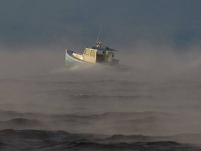 Sea Smoke Lobster Boat Poster