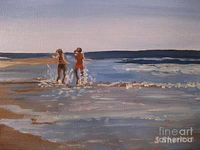 Sea Splashing On The Beach Poster