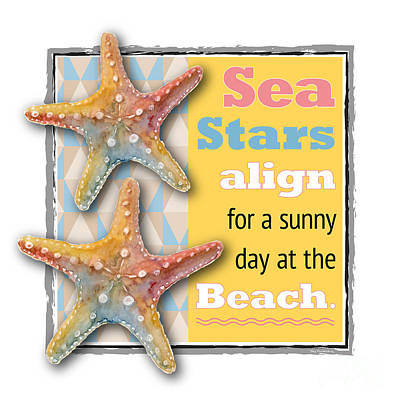 Sea Stars Align For A Sunny Day At The Beach. Poster