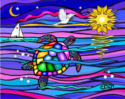 Poster featuring the digital art Sea Turle In Blue And Pink by Jean B Fitzgerald