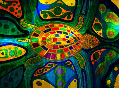 Sea Turtle - Abstract Ocean - Native Art Poster