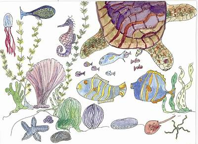 Poster featuring the painting Sea Turtle And Fishies by Helen Holden-Gladsky