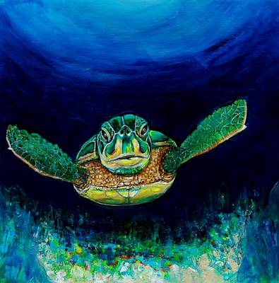 Sea Turtle Poster by Jean Cormier