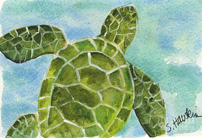 Sea Turtle Watercolor Poster by Sheryl Heatherly Hawkins