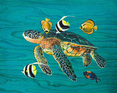 Sea Turtle With Fish Poster by Emily Brantley