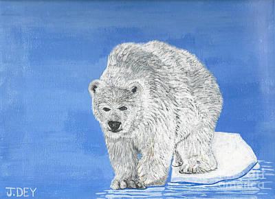Sea Bear In Polar Ice  By Janelle Dey Poster by Janelle Dey