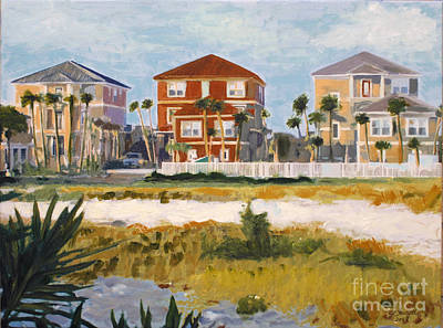 Poster featuring the painting Seagrove Beach Houses by Jeanne Forsythe