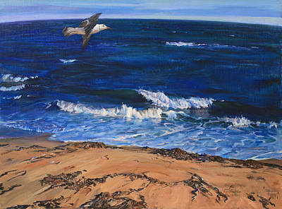 Seagull Flying Along The Surf Poster
