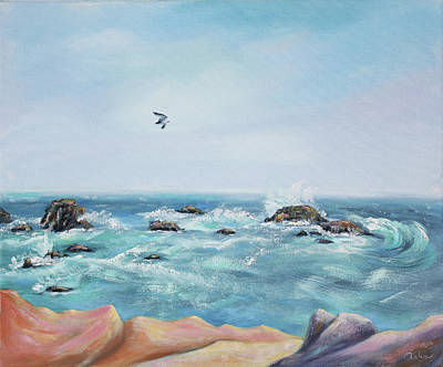 Poster featuring the painting Seagull Over The Ocean by Asha Carolyn Young