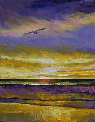 Seagull Sunset Poster