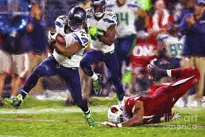 Seahawks Football Poster by Garland Johnson