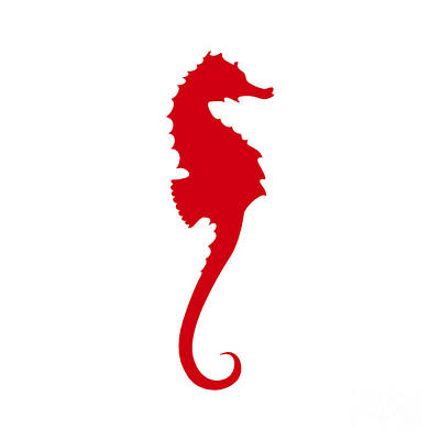 Seahorse In Red Poster