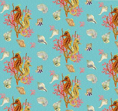 Seahorses Coral And Shells Poster by Kimberly McSparran