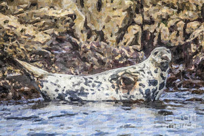 Seal Waving Poster by Liz Leyden