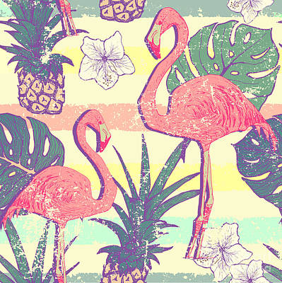 Seamless Pattern With Flamingo Birds Poster