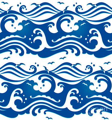 Seamless Stormy Ocean Waves Pattern Poster