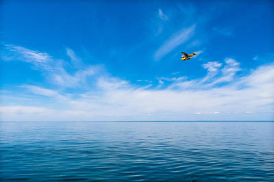 Poster featuring the photograph Seaplane Over Lake Superior   by Lars Lentz