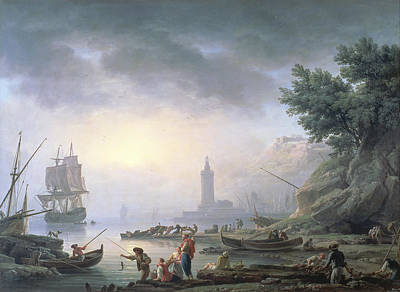 Seaport At Dawn, 1751 Poster