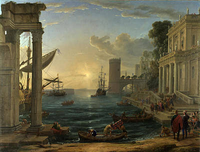 Seaport With The Embarkation Of The Queen Of Sheba Poster by Claude Lorrain