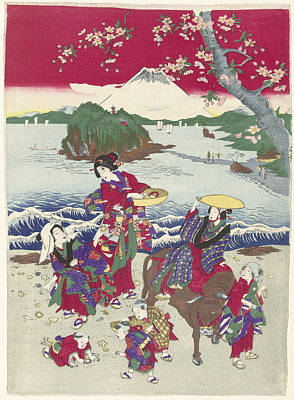 Searching For Shells On The Beach, Japanese Print Poster by Anonymous