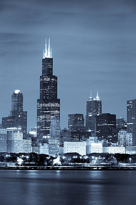 Poster featuring the photograph Sears Tower In Blue by Sebastian Musial