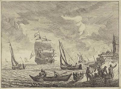 Seascape With Boats Offshore, Adam Silo Poster by Adam Silo