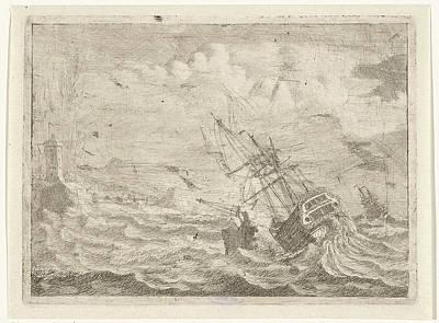 Seascape With Ship In Distress, Adam Silo Poster by Artokoloro