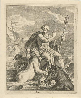 Seascape With Thetis And Neptune. Thetis Asks Neptune Poster