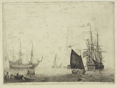 Seascape With Two Three-masters With Lowered Sails Poster by Adam Silo