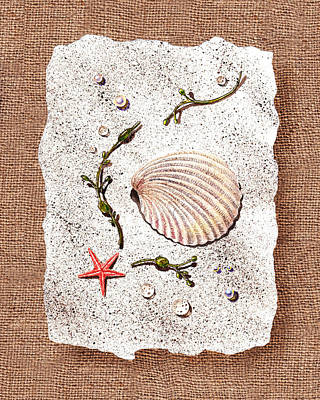 Seashell With Pearls Sea Star And Seaweed  Poster by Irina Sztukowski