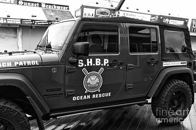 Seaside Heights Beach Patrol Mono Poster by John Rizzuto