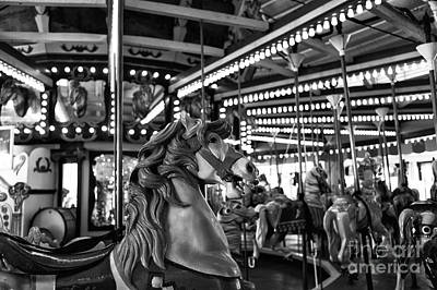 Seaside Heights Carousel Horse Mono Poster by John Rizzuto