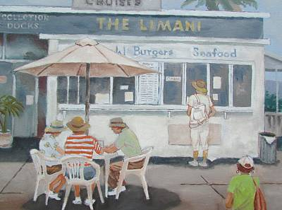 Poster featuring the painting Seaside Lunch by Tony Caviston