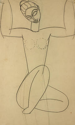 Seated Caryatid Poster by Amedeo Modigliani