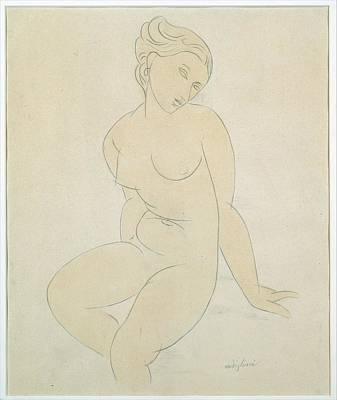 Seated Female Nude Poster by Attributed to Amedeo Modigliani
