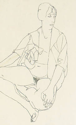 Seated Female Nude With Open Blouse Poster by Egon Schiele