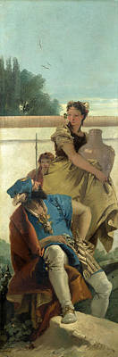 Seated Man Woman With Jar And Boy Poster by Giovanni Battista Tiepolo