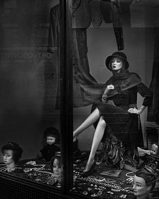Seated Mannequin In Storefront Window Display Poster