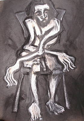 Poster featuring the drawing Seated Nude Old Man by Kenneth Agnello
