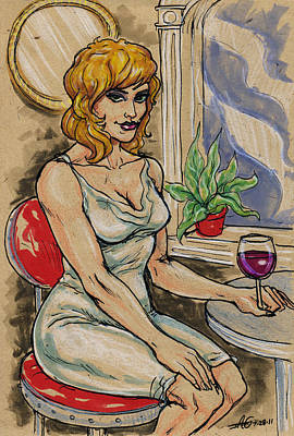 Seated Woman With Wine Poster