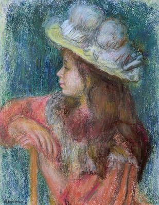 Seated Young Girl In A White Hat Poster by Pierre Auguste Renoir