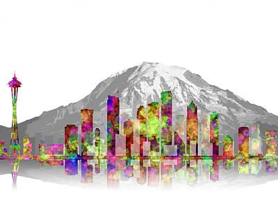 Seattle City Skyline 3 Poster